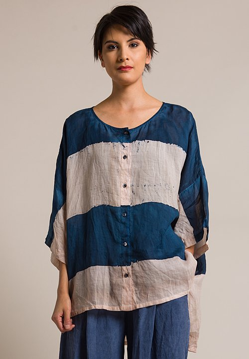 Gilda Midani Stripe Linen Button-Down Super Shirt in Cream Pink & Deep Blue