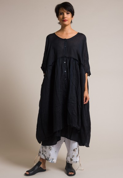 Gilda Midani Solid Dyed Linen/Cotton Oversized Dress in Black