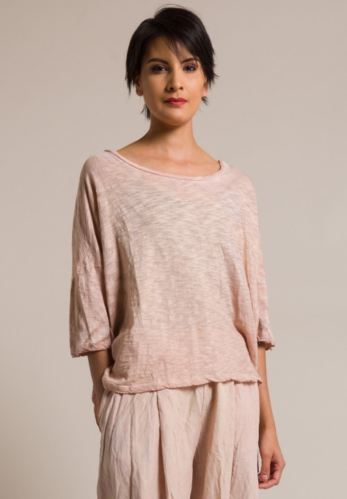 Gilda Midani Short Sleeve Cotton Super Tee in Cream Pink