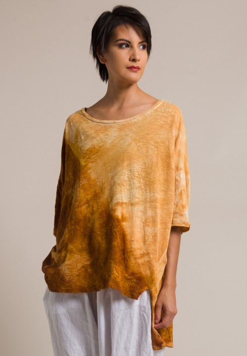 Gilda Midani Pattern Dyed Short Sleeve Cotton Super Tee in Solid Rust Orange