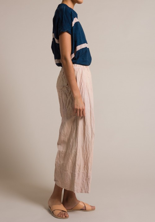 Gilda Midani Solid Dyed Pleats Pants in Cream Pink