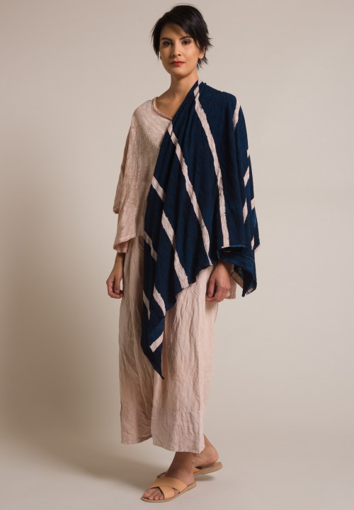 Gilda Midani Stripe Pattern Dyed Cotton Scarf in Cream Pink & Deep Blue