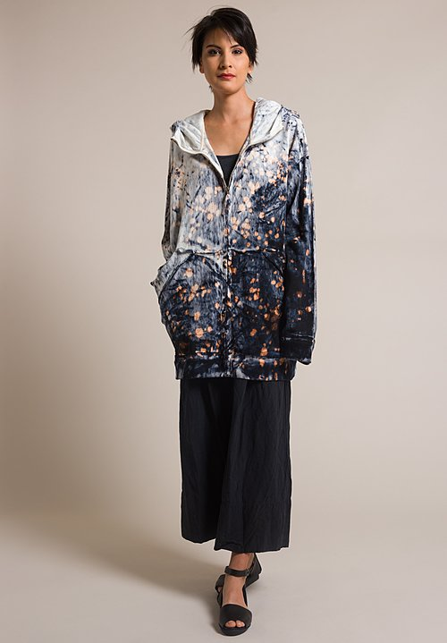 Gilda Midani Splatter Dyed Sweater Jacket in Deep Sea Blue & White