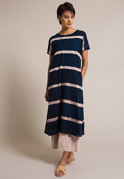 Gilda Midani Stripe Pattern Short Sleeve Cotton Maria Dress in Cream Pink & Deep Blue