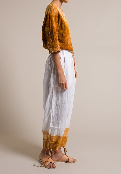 Gilda Midani Linen Drop Crotch Y Pants in Rust Orange
