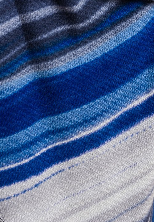 Alonpi Cashmere Cashmere Dawson Stripe Printed Shawl in Juno Blue