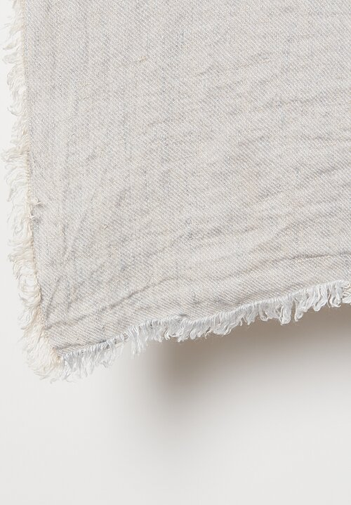 Maison de Vacances Crumpled Washed Linen Throw in Perle / Givré