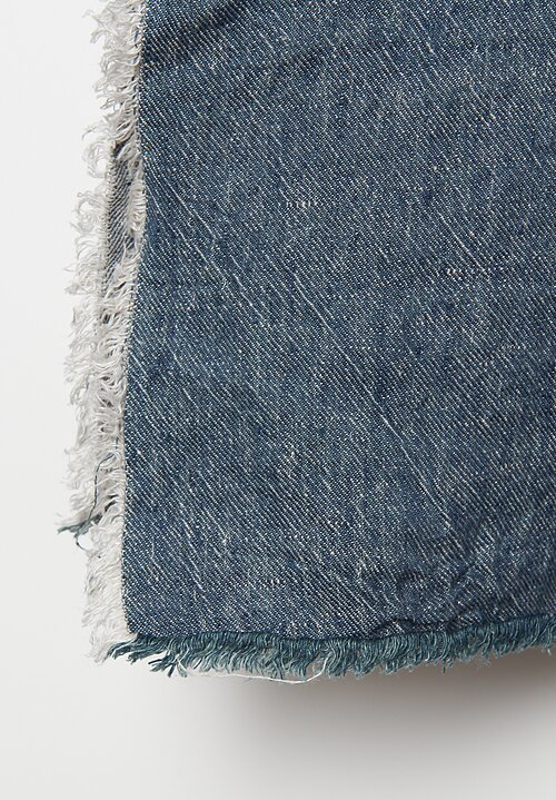 Maison de Vacances Crumpled Washed Linen Throw in Petrole/Givré