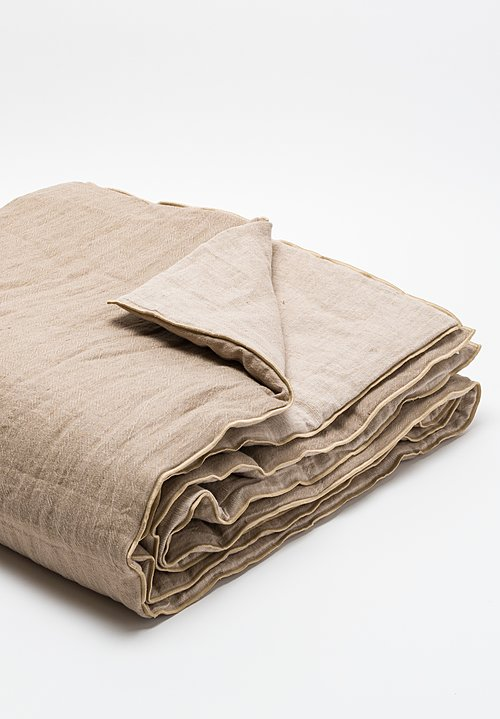 Maison de Vacances Crumpled Washed Linen Queen Duvet in Taupe/ Ciment