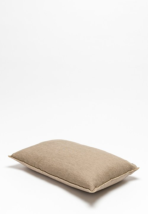 Crumpled Washed Linen Pillow in Taupe/ Ciment