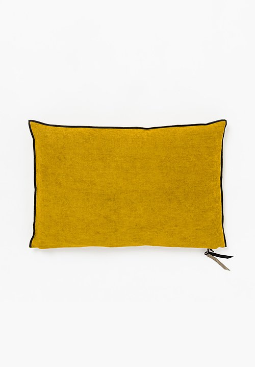 Maison de Vacances Chenille Soft Washed Linen Pillow in Ochre