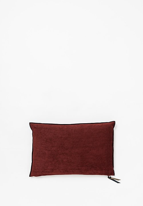 Chenille Soft Washed Linen Pillow in Chianti