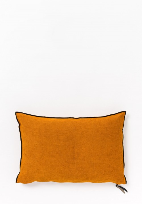 Chenille Soft Washed Linen Pillow in Ambre