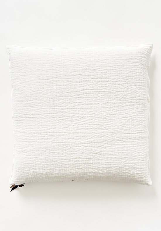 Quilted Crumpled Washed Square Linen Pillows in White