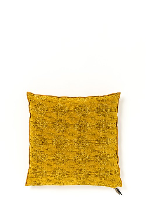 Stone Washed Jacquard Square Pillow in Kilim Ocre