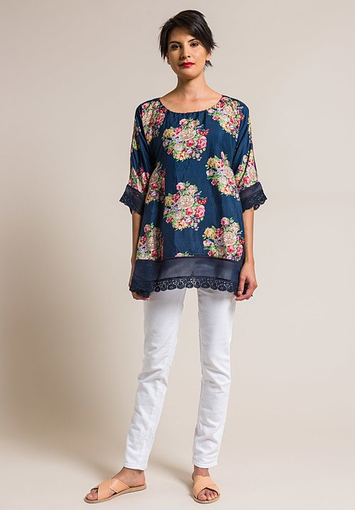 Péro by Aneeth Arora Silk Oversize A-Line Pink Floral Print Top in Navy Blue