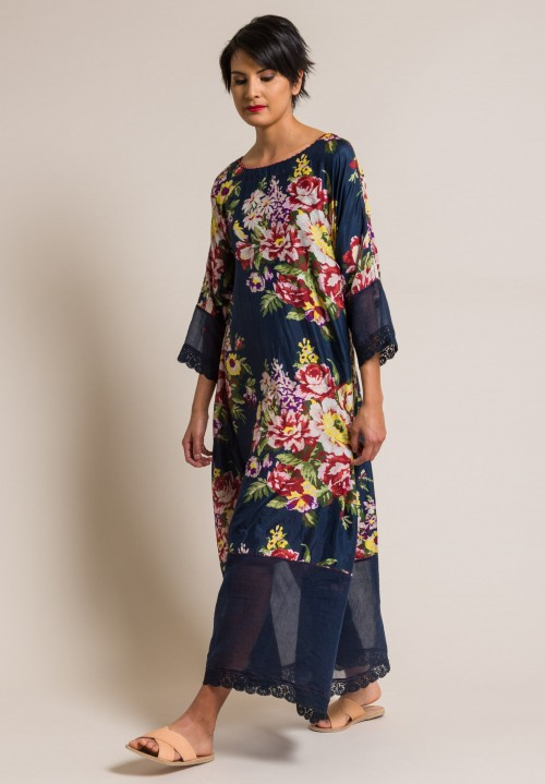 Péro by Aneeth Arora Silk Large Floral Print Long Dress in Navy Blue