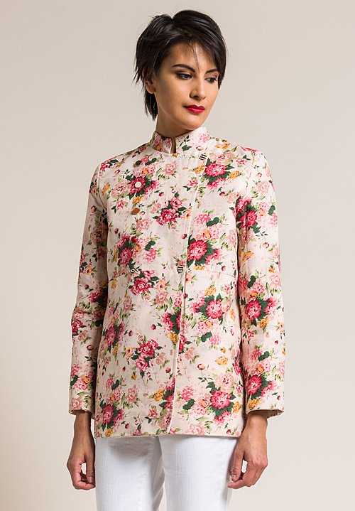 Péro by Aneeth Arora Linen and Silk/Cotton Reversible Floral Jacket in Cream & Pink