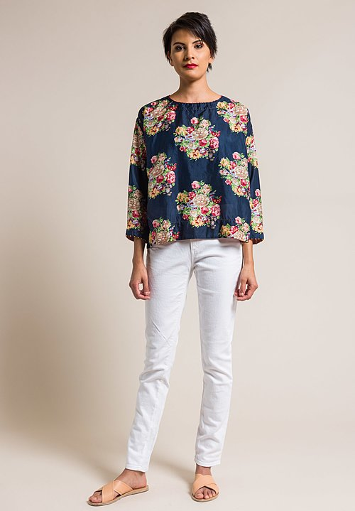 Péro by Aneeth Arora Silk Oversized Pink Floral Print Top in Navy Blue