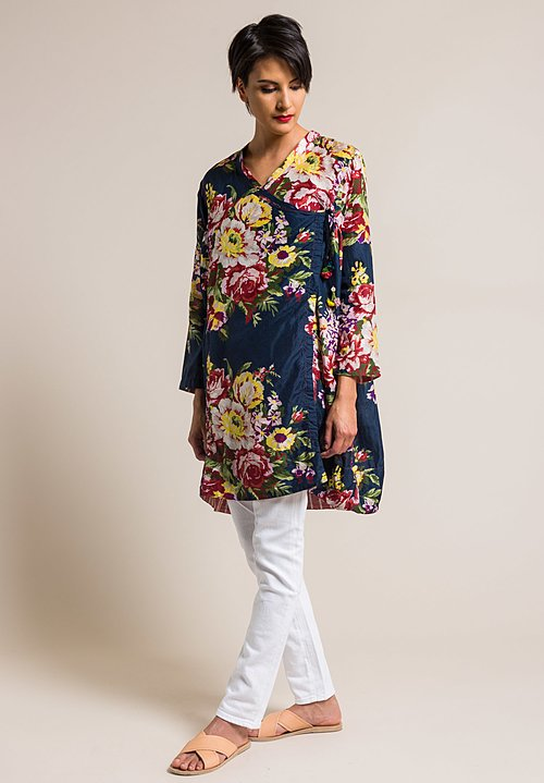 Péro by Aneeth Arora Silk Oversized Crossover Large Flower Print Top in Navy Blue