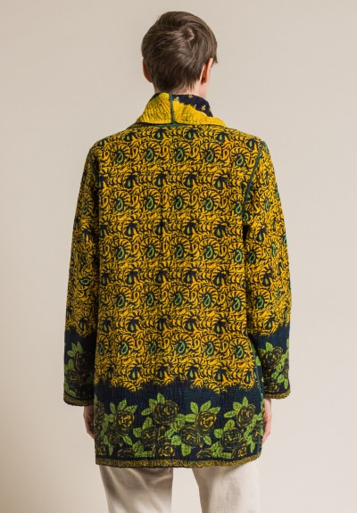 Mieko Mintz 4-Layer Vintage Cotton Pocket Jacket in Marigold/Black