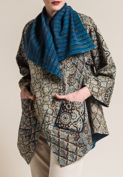 Mieko Mintz 2-Layer Ajrakh Print Long Circular Jacket in Brown/Blue