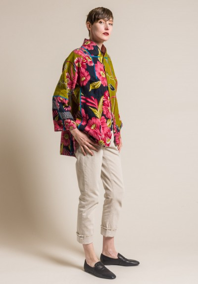 Mieko Mintz 2-Layer Vintage Cotton Short Flare Jacket in Olive/Rose