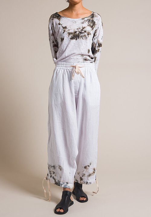 Gilda Midani White Linen Drop Crotch Y Pants in Grey Stain Print