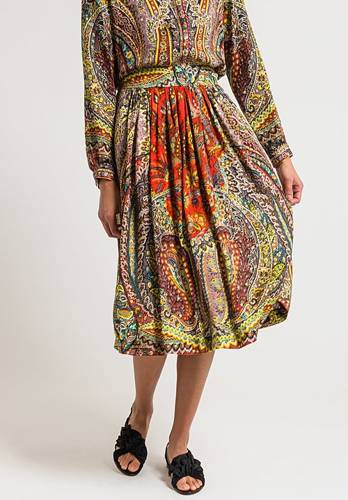 Etro Pleated Floral Paisley Skirt in Multi