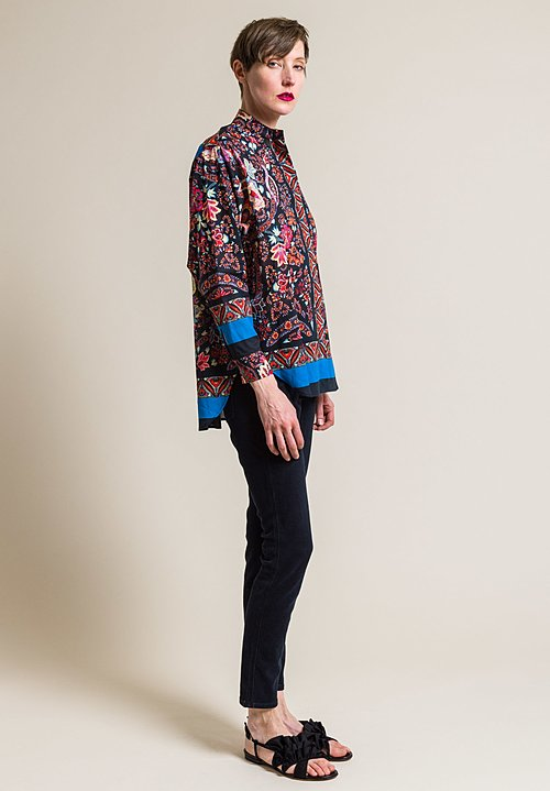 Etro Paisley and Floral Cotton Band Collar Shirt in Black/Turquoise