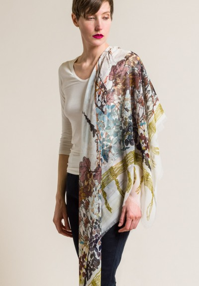 Etro Sheer Silk Leaf and Ornament Scarf in White