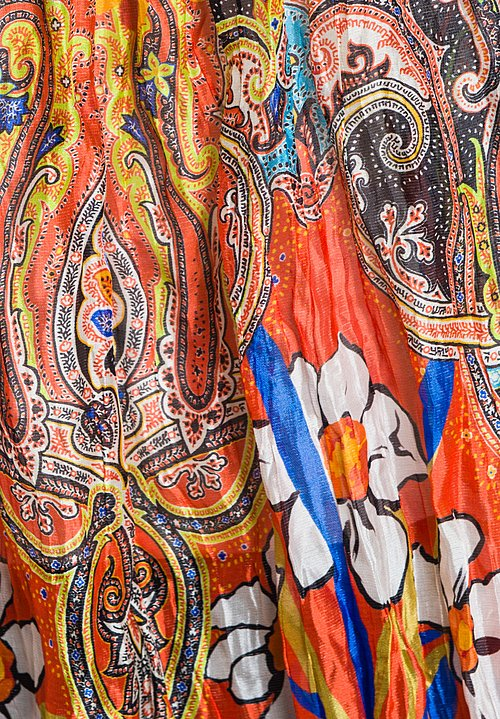 Etro Shiny Floral and Paisley Crinkle Scarf in Multi