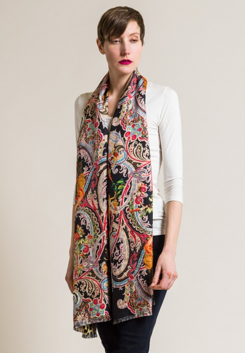 Etro Silk Leopard and Paisley Scarf in Black