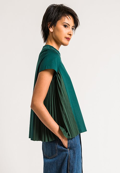 Sacai Green Cotton Top with Side Pleat