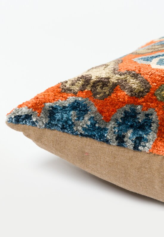 Tibet Home Hand Knotted & Woven Square Pillow in Orange Cloud