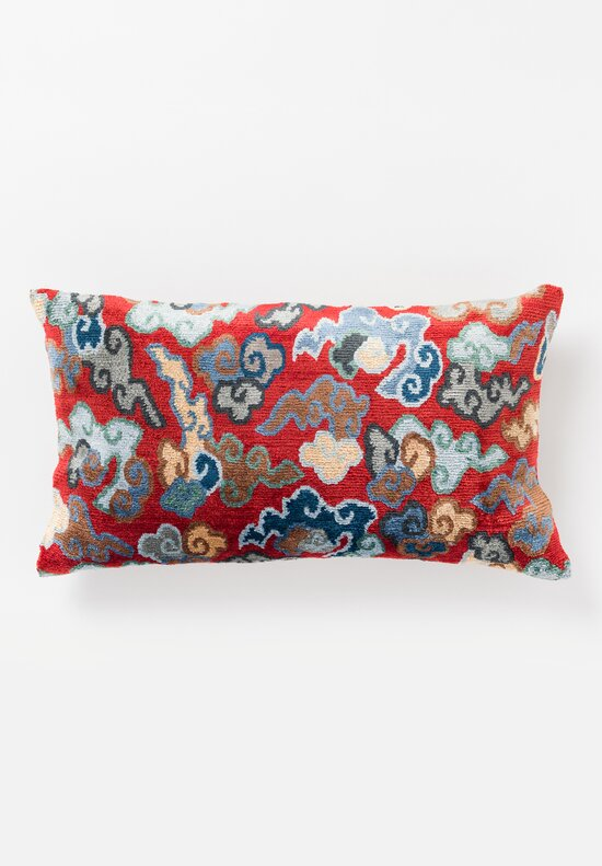 Tibet Home Hand Knotted & Woven Lumbar Pillow in Cloud Red