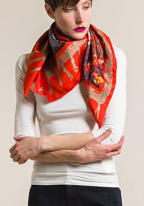 Etro Silk Leaves & Kaleidoscope Print Scarf in Red