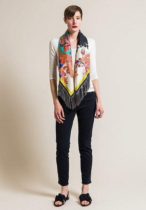 Etro Silk Square Paisley & Floral Print Scarf in Multicolor
