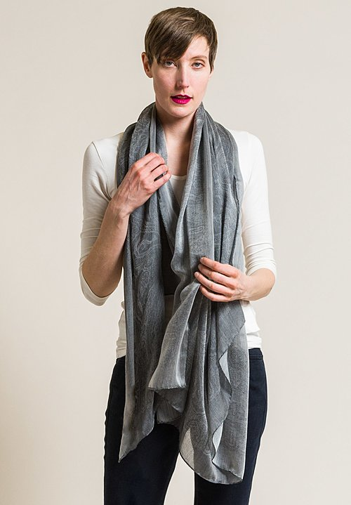 Etro Cashmere/Silk Sheer Jacquard Scarf in Grey