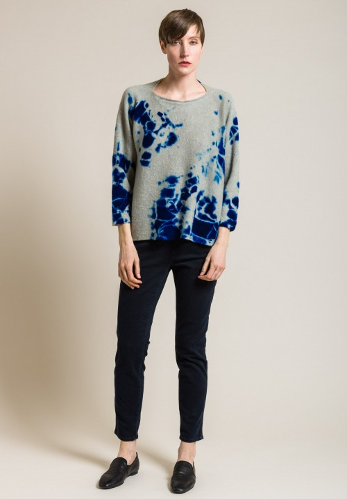 Suzusan Cashmere Madara Shibori Sweater in Royal Blue/Grége