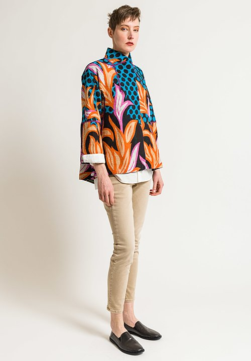 Mieko Mintz Short Flare Jacket in Turquoise/Orange