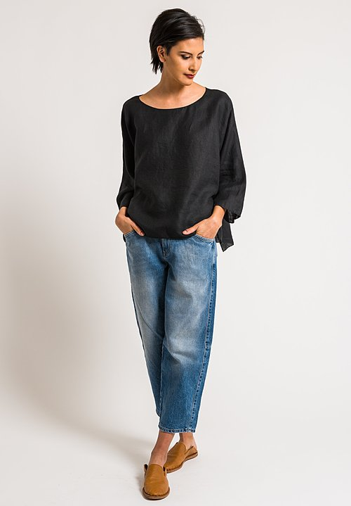 Shi Cashmere Black Linen Top