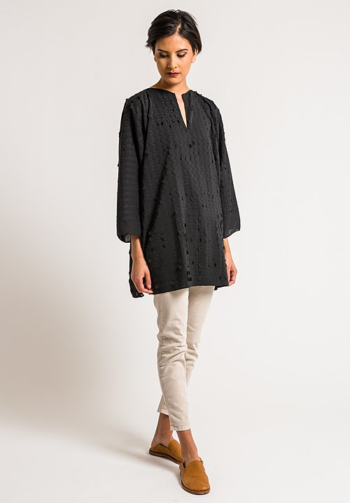 Shi Cashmere Black Georgette Mix Windows Tunic