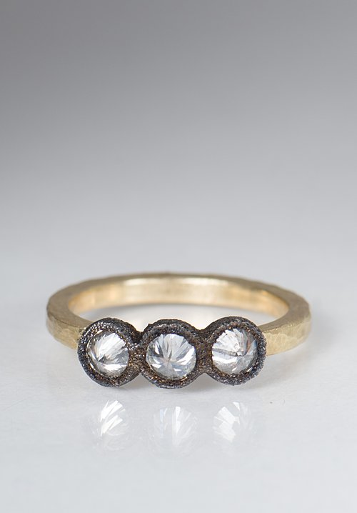 Tap by Todd Pownell 18k, Darkened 14k, 3 Inverted Diamond Ring