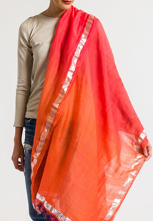 Faliero Sarti Red Ombre Scarf with Metallic Border