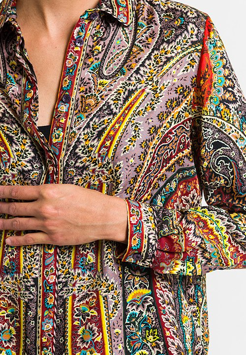 Etro Paisley Printed Button Up Blouse in Red Multi