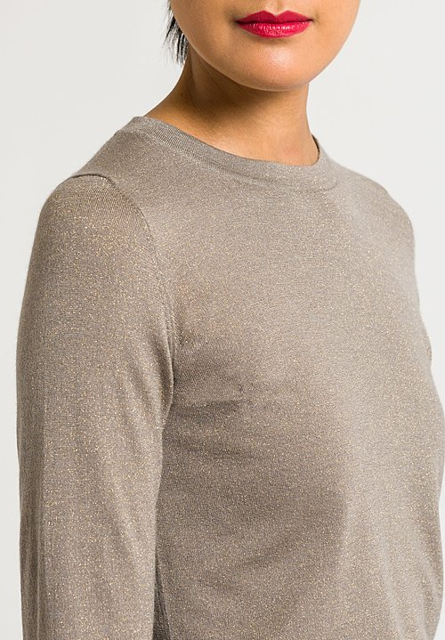 Brunello Cucinelli Crew Neck Paillette Sweater in Brown