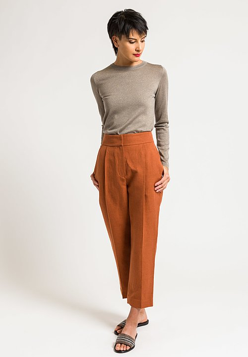 Brunello Cucinelli Linen & Cotton Front Pleat Trouser in Rust