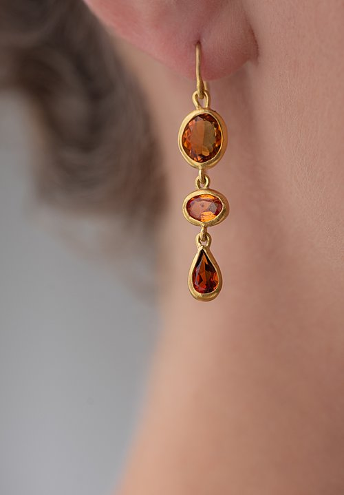 Greig Porter Citrine & Garnet Drop Earrings