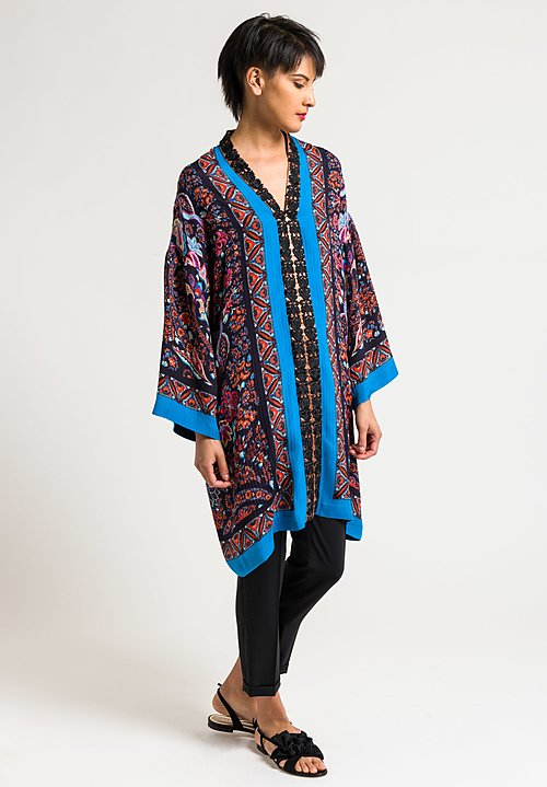 Etro Paisley & Floral Embroidered Center Tunic in Black/Turquoise